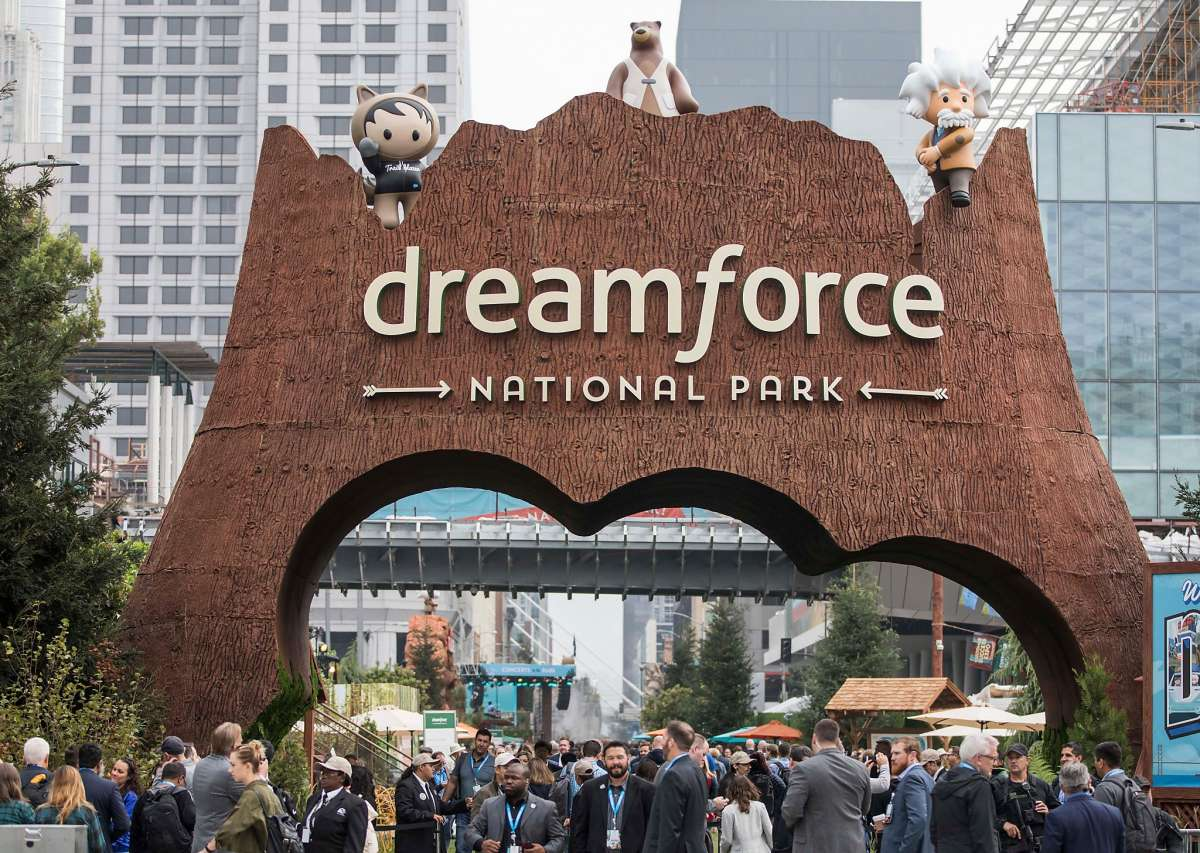 Salesforce Dreamforce national park welcome area in San Francisco
