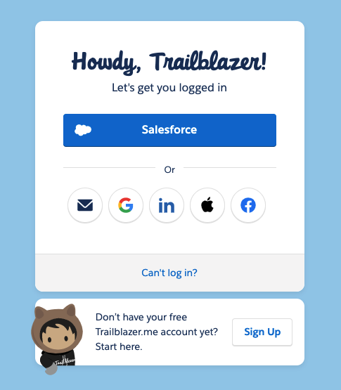 Screenshot of Salesforce Dreamforce Trailblazer login page