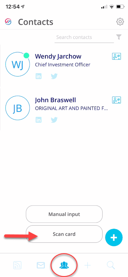 Scan a Business card in ZynBit mobile