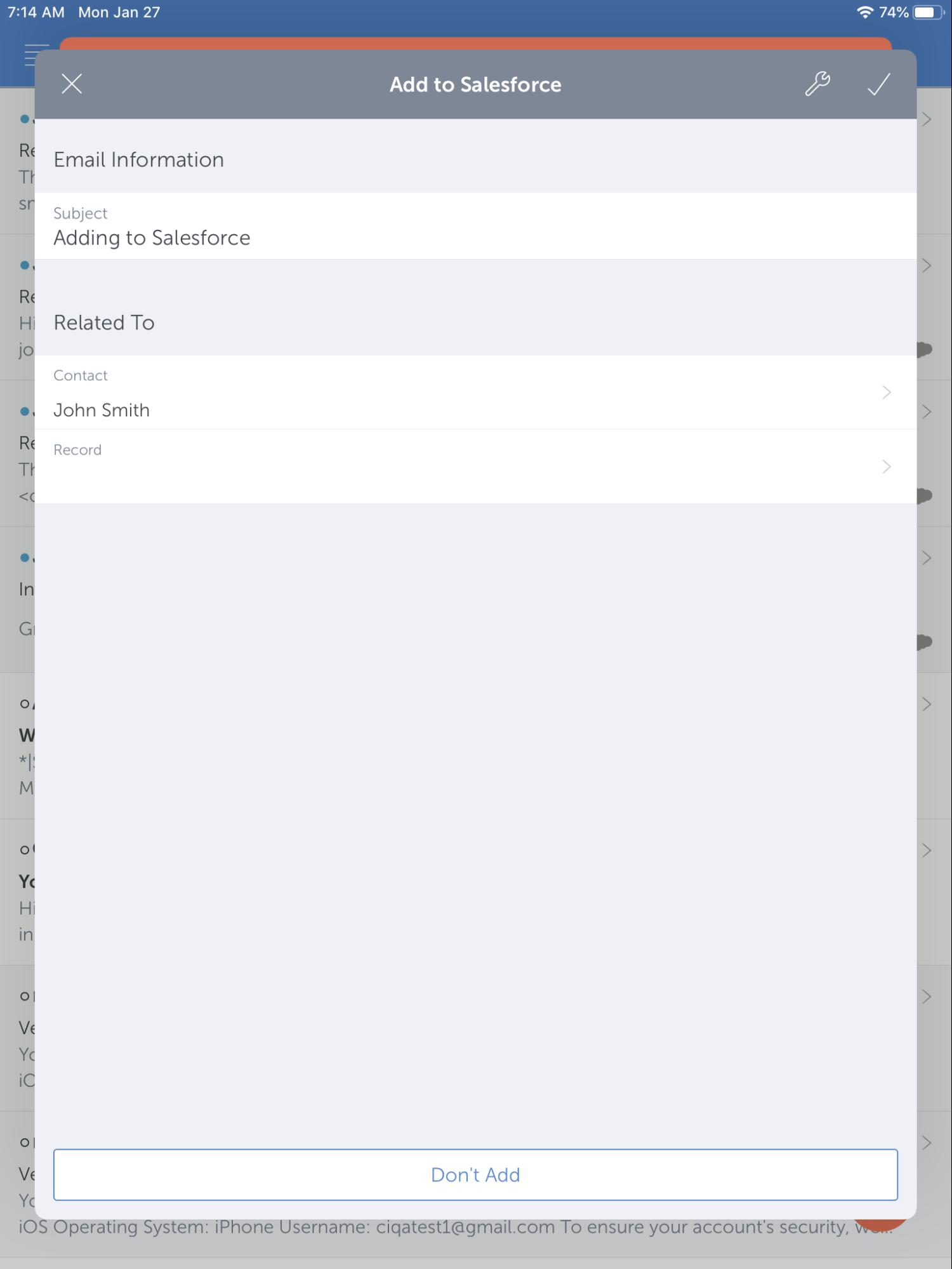 cirrus insight ipad app add to Salesforce
