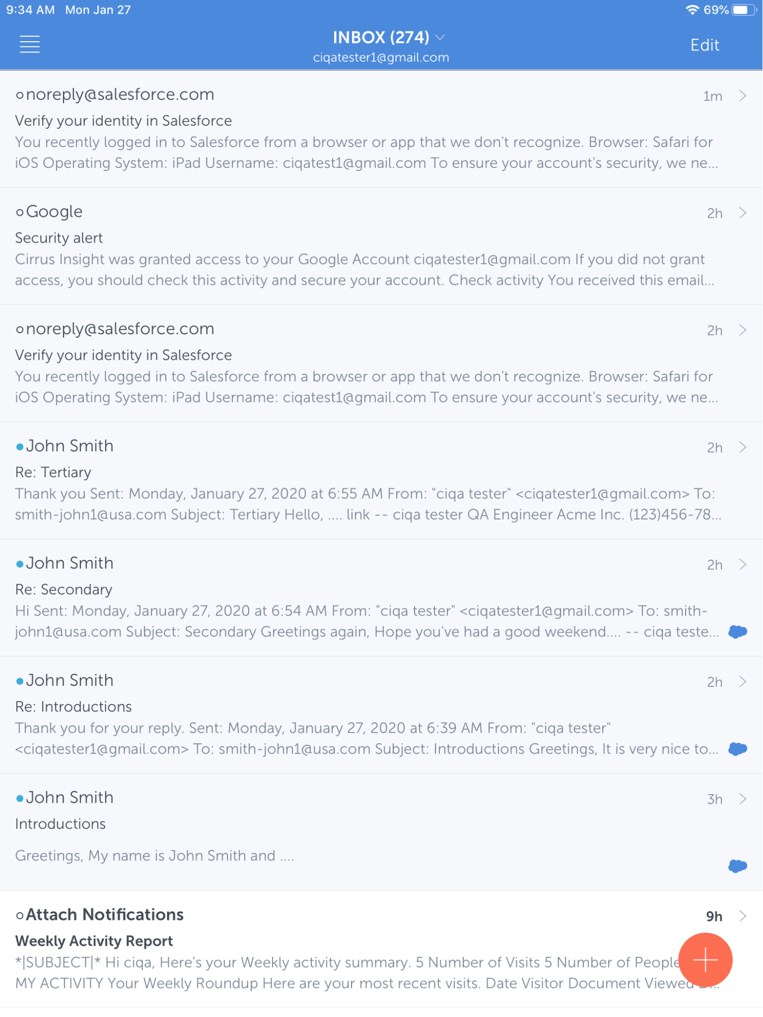 cirrus insight ipad app inbox
